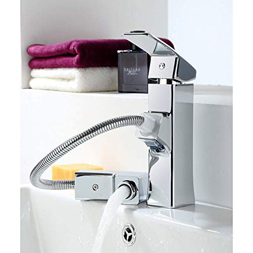 XHCP Basin Mixer Bath Taps Bathroom Sink Faucet - Widespread/Pull Out Chrome Centerset Single Handle One Hole