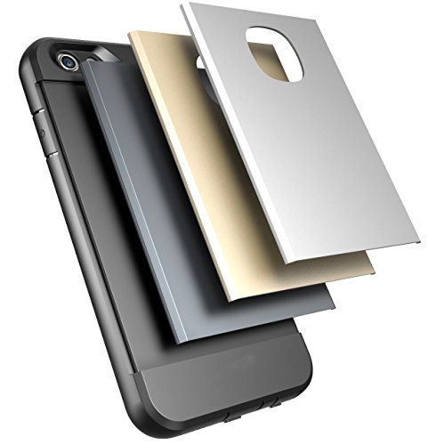 Iphone 6, 6S Armor Case, 4.7 with Three Interchangeable Back-plates, Gold, Silver & Black by Foxx Electronics
