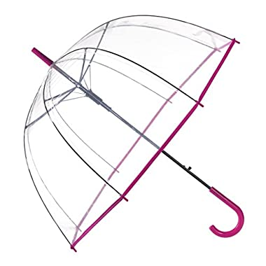 Remedios Automatic Open Transparent Bubble Dome Umbrella with Peach Pink Trim
