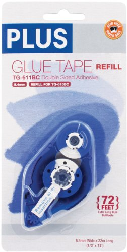 Plus Corporation 611BCR Plus High Capacity Glue Tape Refill, 0.33-Inch by 72-Feet, for Use in 610BC