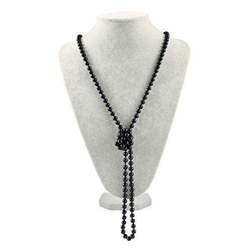 Radtengle Art Deco Fashion Faux Pearls Necklace 1920s Flapper Beads Cluster Long Pearl Necklace for Gatsby Costume Party - Pearl Faux Deco Art