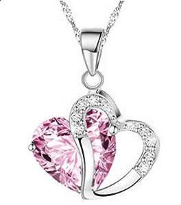 Creative Korean heart pendant necklace - pink
