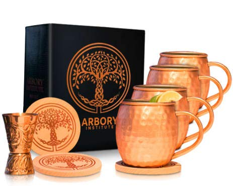 Arbory Institute Copper Moscow Mule Mugs Set of 4 - Large 16 oz Hammered Mug – Bonus Kit Includes 4 Coasters and Jigger – Nickel Lined and Food Safe – Large Gift Set for Men and Women -