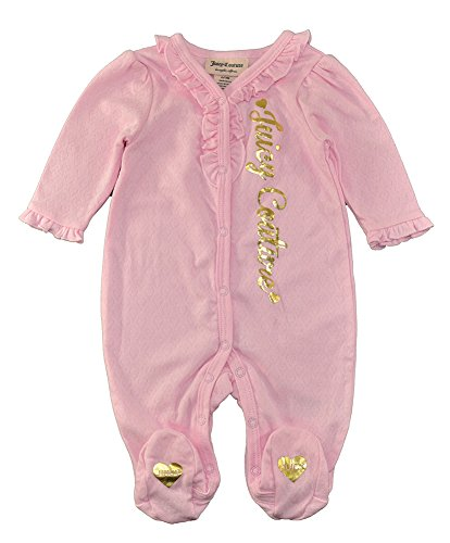 Juicy Couture Girls' Footie, Pink Hound, 0-3 Months