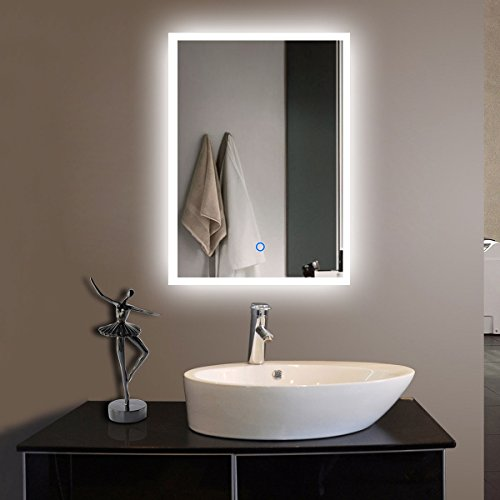 DECORAPORT 20 Inch 28 Inch Vertical LED Wall Mounted Lighted Vanity Bathroom Silvered Mirror with Touch Button (A-N031-H) by Decoraport