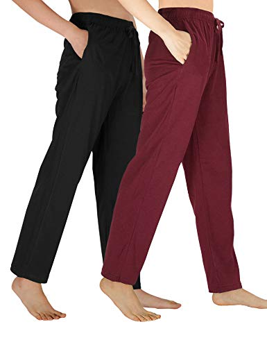 - WEWINK CUKOO Womens Pajama Pants Cotton Sleep Pants Stretch Knit Lounge Pants with Pockets (Black+ Wine Red/Straight-Legged, S=US 4-6)