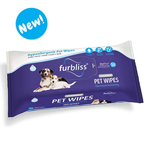 Furbliss Pet Wipes for Dogs & Cats, Cleansing Grooming & Deodorizing Hypoallergenic Thick Wipes with All Natural Deoplex Deodorizer 100ct Pack