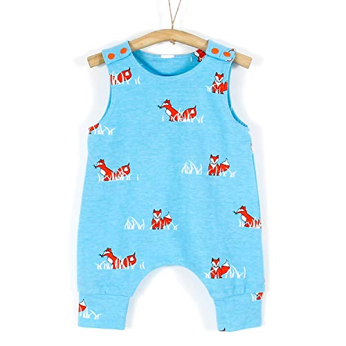 PatPat Unisex Kids Cute Sleeveless Romper with Animal Fox Pattern Printing Cotton Climbing Jumpsuit Vest for Baby Girl Boy 6-9 Months Light Blue from Yaffi