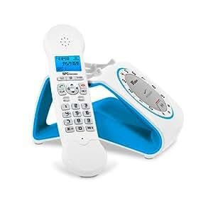 SPC Telecom 7704A - Teléfono fijo digital inalámbrico (RJ-11, GAP, DECT), azul y blanco