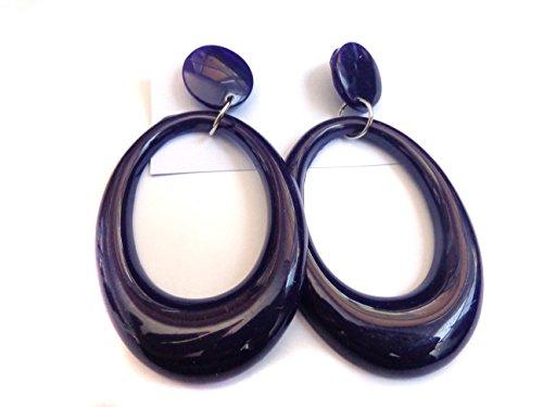 Dark Purple Hoop Earrings Drop Oval Hoop Earrings 3.5 inch Long