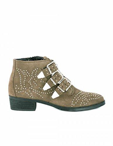 Botines Tachuelas y Hebillas Serraje PERA LIMONERA - Color - Kaki, Talla Zapatos Mujer - 41: Amazon.es: Zapatos y complementos