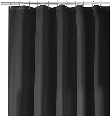 "InterDesign Water-Repellent and Mildew-Resistant Fabric Shower Curtain, 108"" X 72"" - Extra Wide, Black -  - shower-curtains, bathroom-linens, bathroom - 41Vq7lfbmqL -"