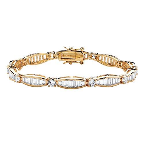 Baguette White Bracelet (Palm Beach Jewelry Round Baguette White Cubic Zirconia 14k Yellow Gold-Plated Tennis Bracelet 7.25