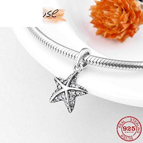 Sparkling Cz Starfish Fashion 925 Sterling Silver Pendants Charms Fit Original Charm Bracelet Necklace Pendant Jewelry Making