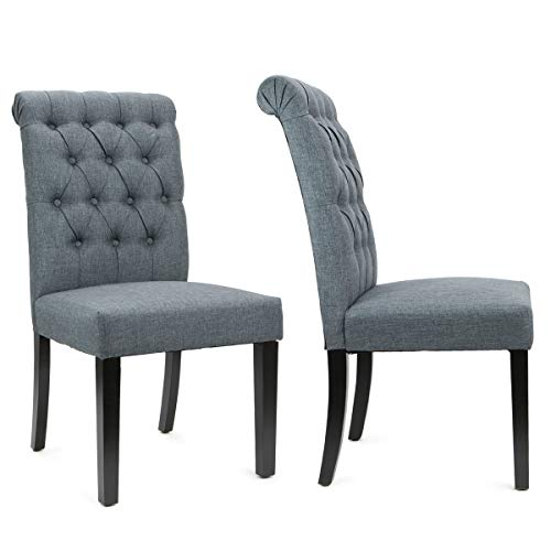 Upholstered Furniture Buying - XtremepowerUS Set of (2) Dining Room Side Chair Tufted Padded Seat High Backrest Chairs Armless Wooden Legs (Gray)