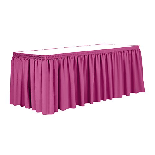 Ultimate Textile 14 ft. Shirred Pleat Polyester Table Skirt Hot Pink