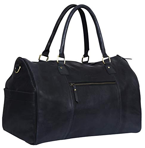 Genuine Black Leather Overnight Travel Duffle Carry On Bag