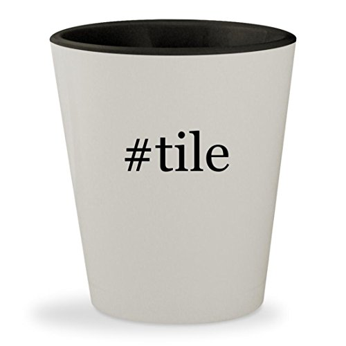 #tile - Hashtag White Outer & Black Inner Ceramic 1.5oz Shot Glass (Ceramic Porcelanosa Tile)