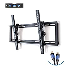 Basics Hardware TV Wall Mount Bracket with Motion Swivel Articulating, Fits Most 26-55-Inch TVs. Includes: 6' HDMI Cable and 3-Axis Bubble (26-55-Inches)