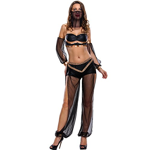 [SextyHome Lady Euroupe And America Belly Dance Club 4 Times Clothes(Claret)] (Beetle Juice Wig)