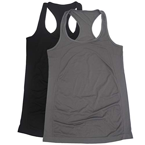 BollyQueena Workout Tanks Top, Women's 2 Packs Student Junior Tanks Active Exercise Sports Top Black&Grey L ()