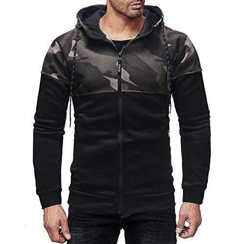 iLXHD Men's Patchwork Pocket Camouflage Long Sleeve Hoodie Zip-up Jacket(Black,M)