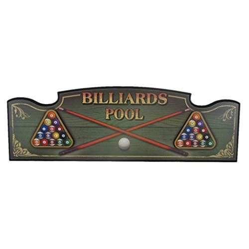 Billiards Pool Wall Plaque, Distressed Wood Sign with Ball and Cue Graphics, Man Cave, Family or Game Room Hanging Art Décor