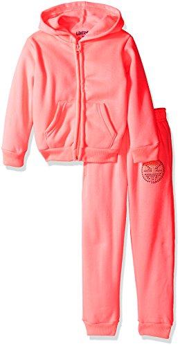 Limited Too Little Girls' Burnout Fleece Jog Set, Neon Light Pink, 6X