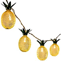 GIGALUMI Pineapple String Lights, 10ft 10 LED Fairy String Lights Battery Operated for Christmas Home Wedding Party Bedroom Birthday Decoration (Warm White) …