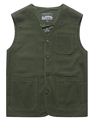 Gihuo Men's Casual Cotton Outdoor Fishing Safari Travel Vest