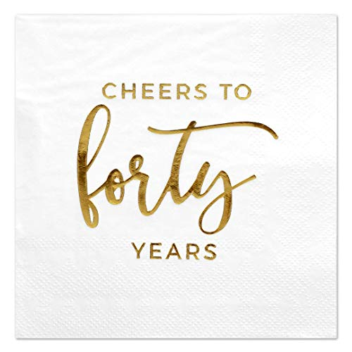 (Andaz Press Cheers to 40, Funny Quotes Cocktail Napkins, Gold Foil, Bulk 50-Pack Count 3-Ply Disposable Fun Beverage Napkins for Engagement Party, Wedding Reception Bar)