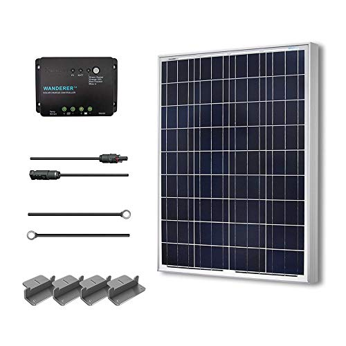 Renogy 100 Watts 12 Volts Polycrystalline Solar Starter Kit W 100w Solar Panel 30a Charge Controller 8ft 10awg Tray Cables Solar Adaptor Kit