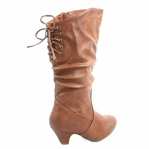 Youth Back Slouch Win Half Heel Round Lace Tan Zipper Boots Low Shoes 40k Toe Girl's Fashion v8wxfEFq8