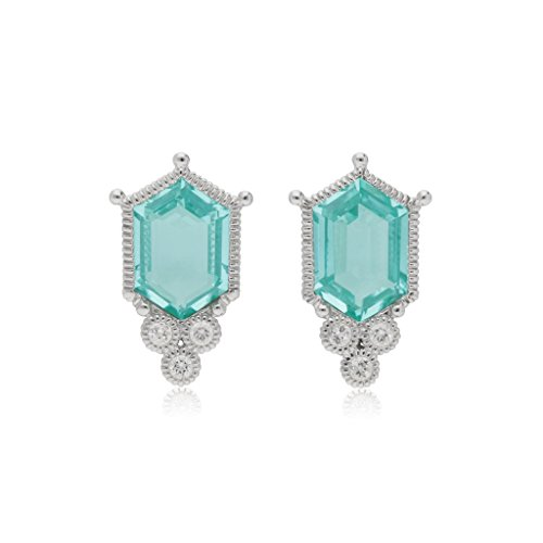 JUDITH RIPKA Martinique Synthetic Paraiba Spinel Hexagon Stud Earrings With White Topaz Accents (Judith Ripka Crystal Ring)