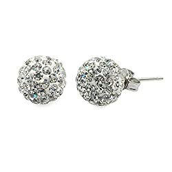 Shambhala Rhinestones Ball Stud Earrings