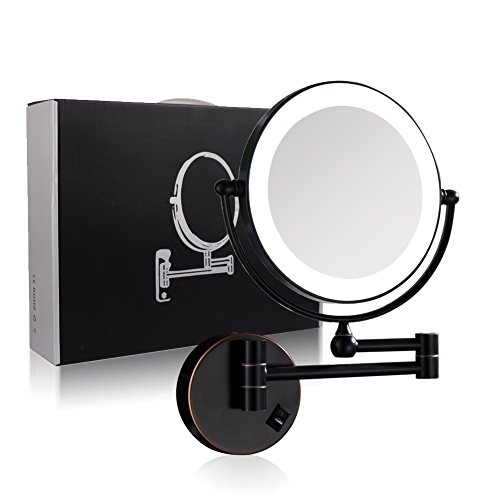 GURUN 8.5 Inch Wall Mounted Magnifying Mirror with Led Light,7X Magnification, Oil -