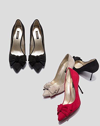 Se Las De Mujeres Zapatos Dedo Altos Tacones Elegantes Nuevas Arco Del Partido Punta oras Elegante De La Boda Del Grey Bombas EU38 Estilete Del 240 Del En Del Pie Y8wYC1