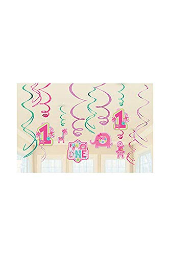 amscan One Wild Girl 1st Birthday Value Pack Foil Swirl Decorations, Small, Pink/Green]()