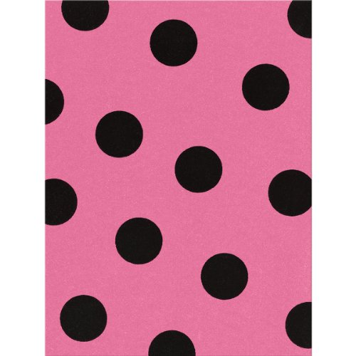 Kunin Fanci Felt Sheet, 9/12-Inch, Candy Pink with Large Black Dots, 24-Pack
