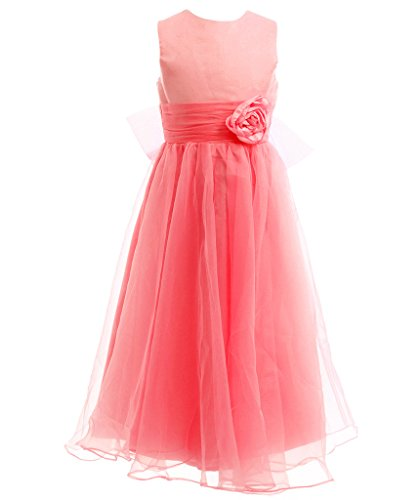 FAIRY COUPLE Girl's A-line Sleeveless Ankle Length Junior Bridesmaid Flower Girl Dress K0125 6 Coral