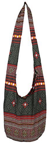 Hippie Gypsy Black New Size Creations's Large Boho Hmong Sling Bohemian Lovely Elephant Bag Crossbody Shoulder Bag ZqwH0xB5B