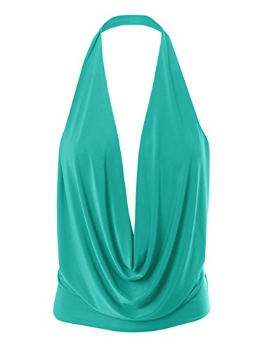 Backless Drape (Womens Lightweight Sexy Drape Backless Cowlneck Low Cut Halter Top with Stretch Jade Small)