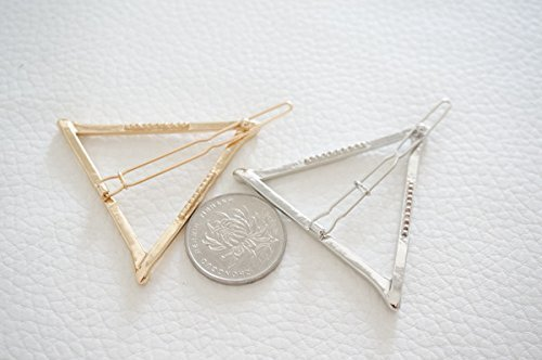 DDGE DMMS Minimalist Geometric Triangle Hair Clip Dainty Hollow Metal Hairpin Clamps Accessories Barrettes Bobby Pin Ponytail Holder Statement Gold and Silver