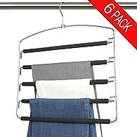 Bloberey Pants Hangers 5 Layers Metal Slack Magic Hangers Non-Slip Foam Padded Swing Arm Space Saving Hanger Space Saver Clothes Closet Storage Organizer for Pants Jeans Trousers