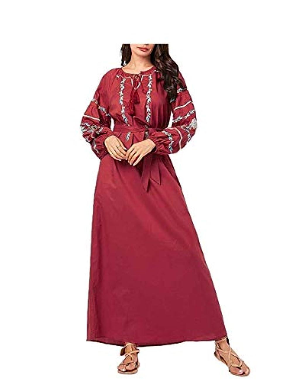 マニュアルめんどり着るmaweisong 女性コージープラスサイズストラップ中東刺繍イスラム教徒アバヤ As2 X-Large