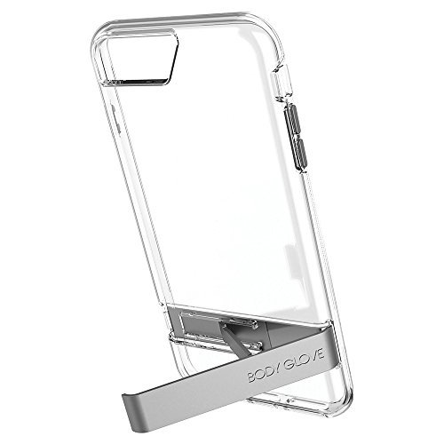 (Body Glove Elevate Case for iPhone 8 Plus, iPhone 7 Plus, iPhone 6s Plus, and iPhone 6 Plus - Clear w/ Gray Metal Kickstand - 9625101)