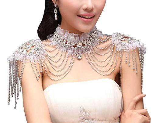 Edith qi Women Jewelery Sets, Wedding Bridal Silver Rhinestone Necklace Shoulder Chains Deco Bib -
