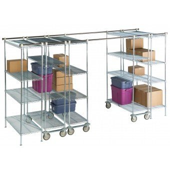 Focus Foodservice FTSTK9 HDS-Plus High Density Shelving, Track Set, 304 Stainless Steel, Mirror Finish, 9' Length by Focus Foodservice