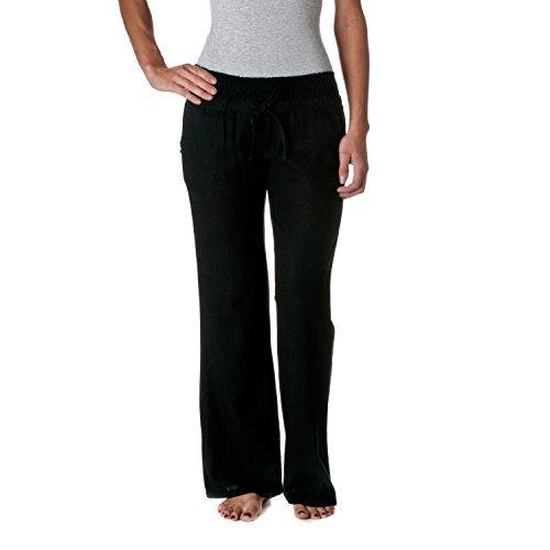 Love Tree Women's Linen Drawstring Pants, Black, Small ()