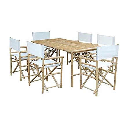Amazon.com: zew bambú mesa rectangular con 6 sillas de ...